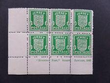 Jersey 1942 Coat of Arms 1/2d Imprint Bl 6 White Paper SG 1 U/M