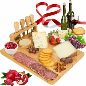 New Bamboo Cheese Board Gift Set | Charcuterie Board with 4 Piece Cheese Knives