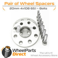 Wheel Spacers 20mm (2) Spacer Kit 4x108 65.1 +Bolts For Peugeot 306 93-02