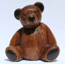 Wooden Teddy Bear 23cm tall handcarved from Acacia wood in Thailand Fair Trade