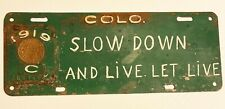 1919 License Plate  Colorado w/ Badge  Blank ( never embossed with number )