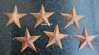 "RUSTIC PRIMITIVE GALVANIZED RUSTY 5"" BARN STAR METAL TIN COUNTRY FARMHOUSE 6 Pcs"