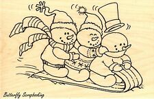 Snowy Snowman Sled, Wood Mounted Rubber Stamp Stampendous, New - P234