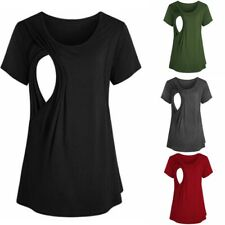 Women Breastfeeding Tee Nursing Tops Short Sleeve Vest T-shirt Maternity Clothes