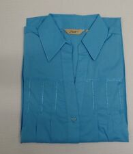 NWT Motto Blue Mist Cotton Blend Button Down Blouse Embroidered SHIRT Size Small