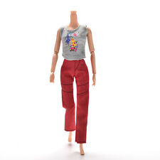 Chic 2 Pcs/Set Vest and Pants Gray and Red Clothes for Barbies Princess Dolls