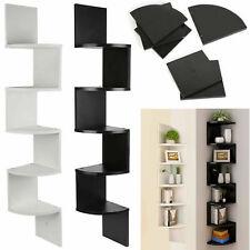 5 Tier Floating Wall Shelves Corner Shelf Storage Wood Display Bookcase Bedroom