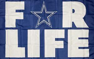 Dallas Cowboys for Life NFL Flag 3x5 ft Sports Blue Banner Man-Cave Garage