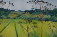 Signed original watercolour painting of a landscape with seed heads