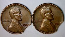 1964 & 1964d CLIPPED ERROR Lincoln Cent NICE 2 Coin LOT Clip PAIR #20   NR