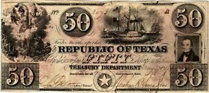 1840 $50 Republic of Texas Note- Treasury Department Cut Cancelled- Scarce Note