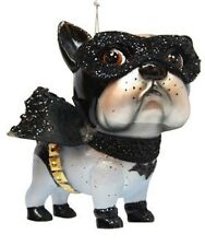 December Diamonds Blown Glass Superhero Bat Dog Bulldog Ornament