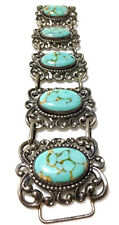 DANECRAFT STERLING SILVER TURQUOISE BLUE GLASS ORNATE SCROLL PANEL BRACELET 7.5""