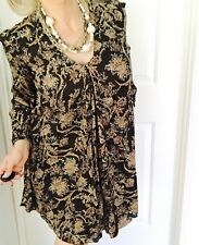 ZARA TRAFALUC WOMDNS BOHO DRESS LINED A LUNE PRINTED GLORAL VISCOSE SZ S