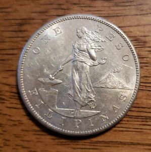 1903-S Silver One Peso Philippines US Administration ~ About Uncirculated AU