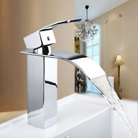 AS Waterfall Spout Chrome Bathroom Basin Sink Mixer Single Handle Faucet Taps