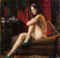 LMOP926 100% hand-painted naked girl sitting on sofa oil painting on canvas art