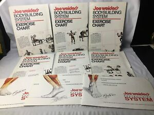 Joe Weider's Body Building System NINE Exercise Charts/Posters Fitness Muscles