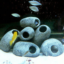 3× Cichlid Stone Ceramic Aquarium Rock Cave Decoration Fish Tank Pond Orna UKPL