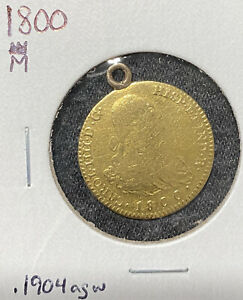1800 Spanish Colonial Gold 2 Escudos with Bezel. Madrid Mint. Pirate Era Coin