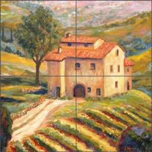 Vineyard Tile Backsplash Margosian Tuscan Art Ceramic Mural JM115