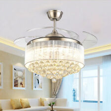 """42"""" Crystal Ceiling Fan Chandelier with Led Light Remote Retractable Blades"""