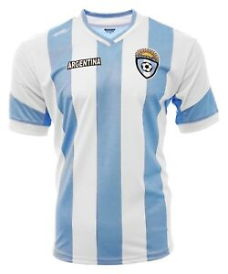 Argentina  New Arza Soccer Jersey White Blue Slim Fit 100% Polyester