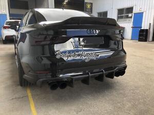 Audi sedan S3 A3 8V Carbon Fiber spoiler sline rs3 lip ducktail R style bodykit
