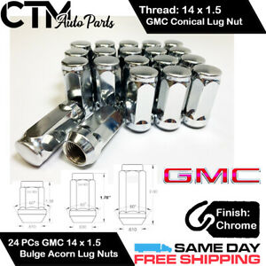 24PC GMC CHROME CONICAL SEAT 14X1.5 WHEEL LUG NUTS BULGE ACORN FOR GMC MODELS
