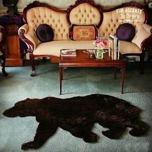 Walking Bear Skin Rug - Plush Shag Faux Fur - Bonded Suede Lining - Made in USA