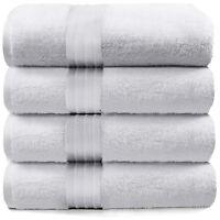 4-Piece Bath Towels Set for Bathroom | 100% Soft Cotton Turkish Towels - White
