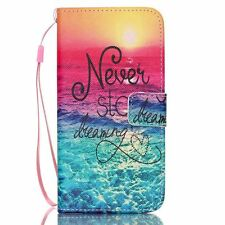 Never stop dream Leather Flip Stand Card Slot Wallet Case Cover for Cell Phones
