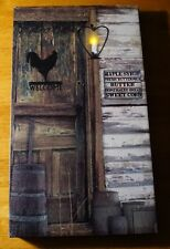 Country Primitive Style Candle Lantern Light WELCOME ROOSTER Home Decor Sign NEW