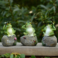 3Pcs Frogs Resin Statues Set Outdoor Patio Lawn Yard Art Garden Figurine Decor