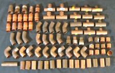 Lot 86 Pieces New Copper Pipe Fittings Most are 1 inch Elbows Caps T Sections ++