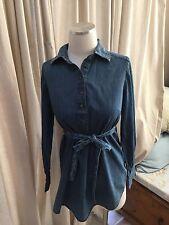 Liz Lange Maternity Denim Henley Tie Waist Shirt Top XS Excellent