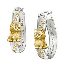 Cute Cat Two Tone Hoop Earrings for Women 925 Silver Earrings Jewelry A Pair/set