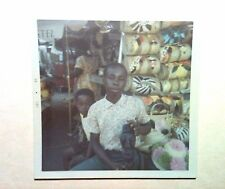 Vintage 60s Photo Bahamas Black Boys Local Merchants Showing Off Homemade Crafts