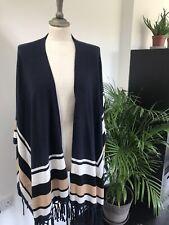 Cashmere Poncho Style Wrap with camel stripe Dea Kudibal One Size Navy BNWT