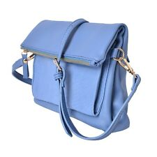 Blue Faux Leather Fold Over Clutch or Crossbody Bag (10x1x10 in) NEW   #PW269