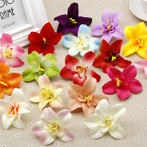 "3"" 10/20 Pcs Cloth Orchid Bulk Artificial Fake Flower Heads Wedding Home Decor"