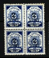 LATVIA 1920 Surcharge 2 DIWI RUBLI on 10k Blue BLOCK OF FOUR SG 67 MINT/MNH