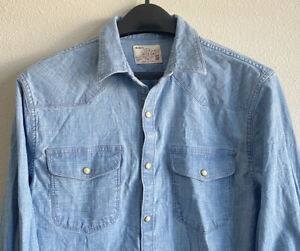 Vintage Lucky Brand Men's Small Classic Fit Denim Western Pearl Snap Shirt Blue