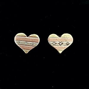 14ct Tri Coloured Gold with Diamond Heart Shaped Earrings (Screw Backs Pierced)