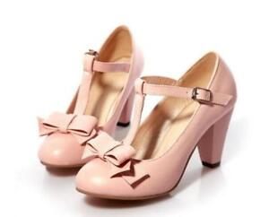 fashion Womens bowknot round toe Kitten Heel T Strap casual loafer  shoes