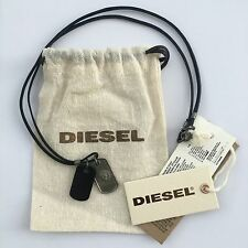 Diesel Mens Albino Black Dog Tags Necklace Leather Metal BNWT l 34 Jeans RRP £59