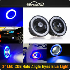 "3"" Inch COB LED Fog Light Projector Car Lamp Blue Halo Angel Eye Ring DRL Bulb"