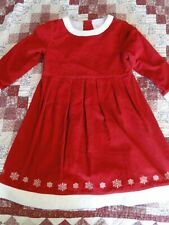 HANNA ANDERSSON Corduroy Red Snowflakes Holiday Christmas Dress 120 7 8