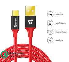 Red USB Type C to A Cable Nylon Fast Charging Type-C 3.1 Data Sync Charger Cable