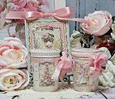 ~ Shabby Chic Vintage Christmas Painted Decoupage Mason Jars/Wall Sign  Set ~